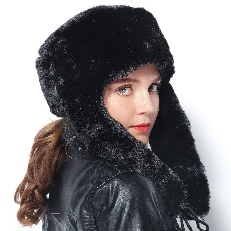 lanliebao Women Winter Bomber Hats Russian Ushanka Hats mad Bomber hat Rabbit Fur