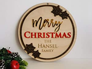 Personalized Merry Christmas Name Family Door Sign Custom Wood Front Door Hanger Last Name Home Decorations Xmas Gift Porch Decor Laser Cut Wooden Snowflakes Outdoor Use Wall Hanging Housewarming
