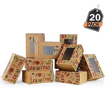 20 Cajas de Regalo para Navidad - Cajas Kfraft para Galletas, Donas o Rosquillas - Accesorio para Repostería, Sorpresas y Mas: Amazon.es: Hogar