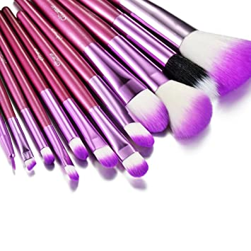 Glow Make Up Pinsel Set 12 Teilig Violett Tasche Im Krokodilleder