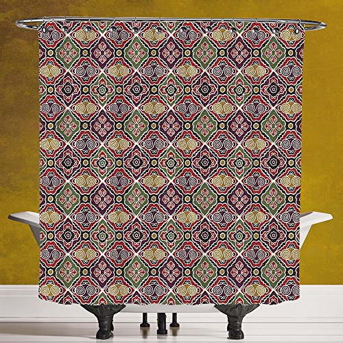 Unique Shower Curtain 3.0 by SCOCICI [ Geometric,Traditional Japanese Chevron with Spirals Blooms Boho Ethnic Eastern Pattern,Multicolor ] Fabric Bathroom Decor Set with Hooks by SCOCICI