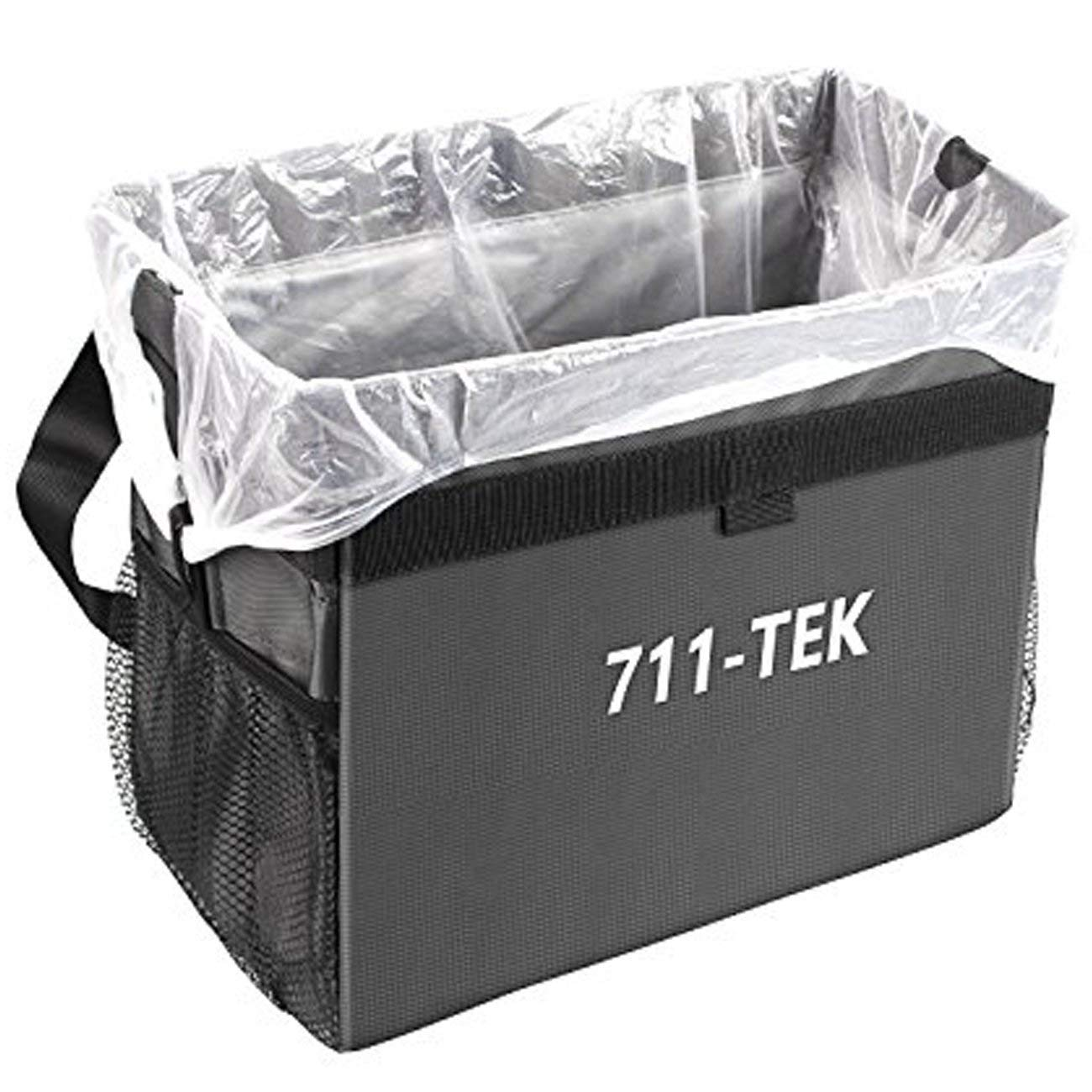 711TEK Car Trash Can, Leakproof and Weighted Portable Car Garbage Bag Basket Hanging for Auto Back Seat Black