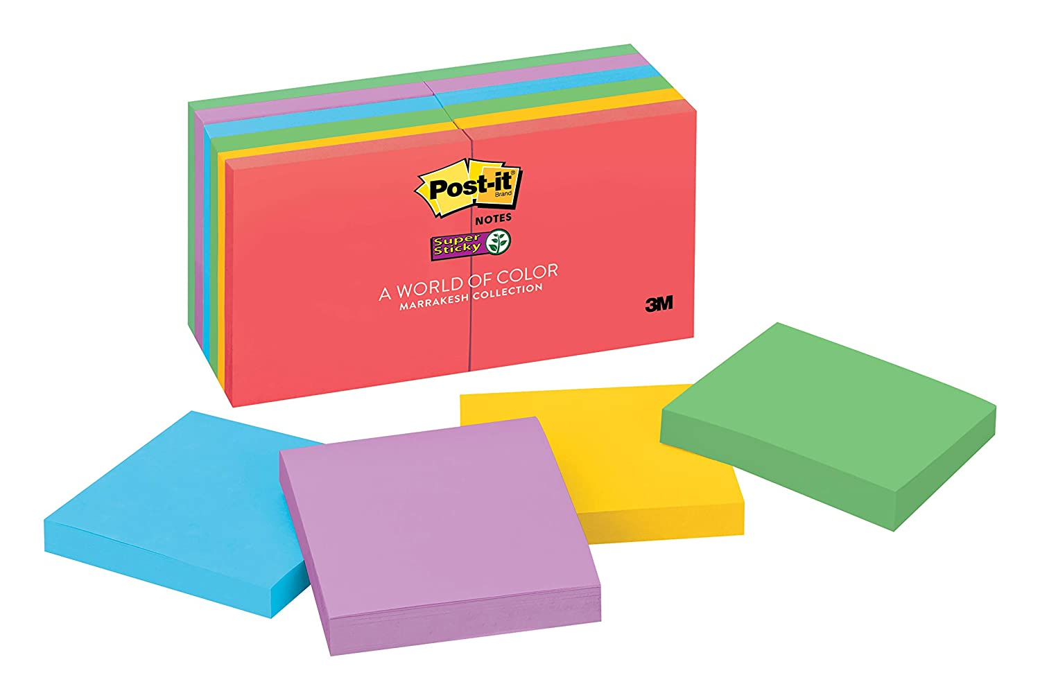 2x Sticking Power 3 in x 3 in 654-12SSUC Rio de Janeiro Collection 90 Sheets/Pad 12 Pads/Pack Post-it Super Sticky Notes