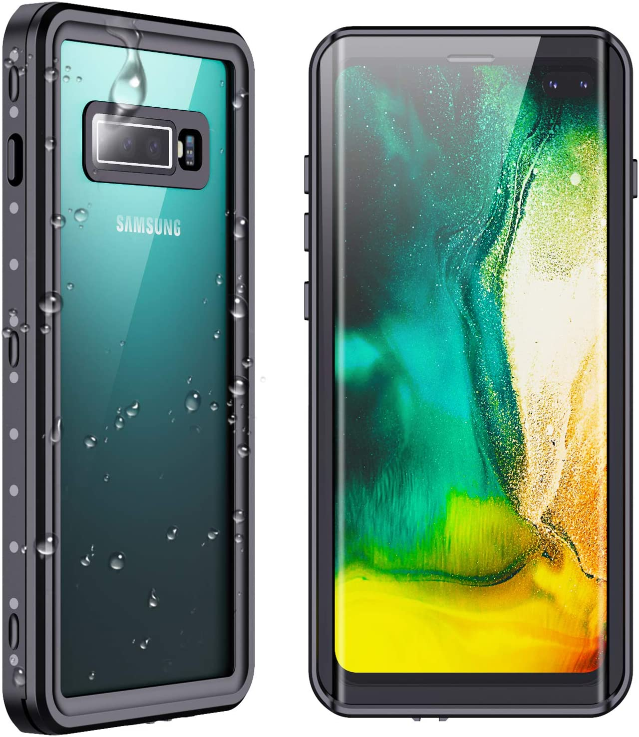 SPIDERCASE Samsung Galaxy S10 Plus S10+ Waterproof Case, Built-in Screen Protector Fingerprint Unlock with Film, Shockproof Full Body Cover Waterproof Case for Samsung Galaxy S10+ Plus 6.4 inch, 2019
