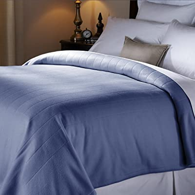 Sunbeam Soft Quilted Fleece Electric Heated Warming Blanket Twin Newport Blue Washable Auto Shut Off 10 Heat Settings