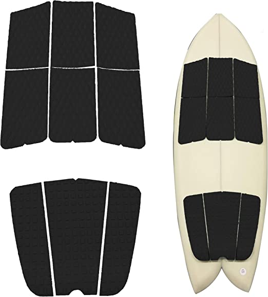 Fish Board Funboard Abahub 3 Piece EVA Surfboard Deck Traction Pads for Stomp Skimboards Black//Blue//Gray//White Surf Boards