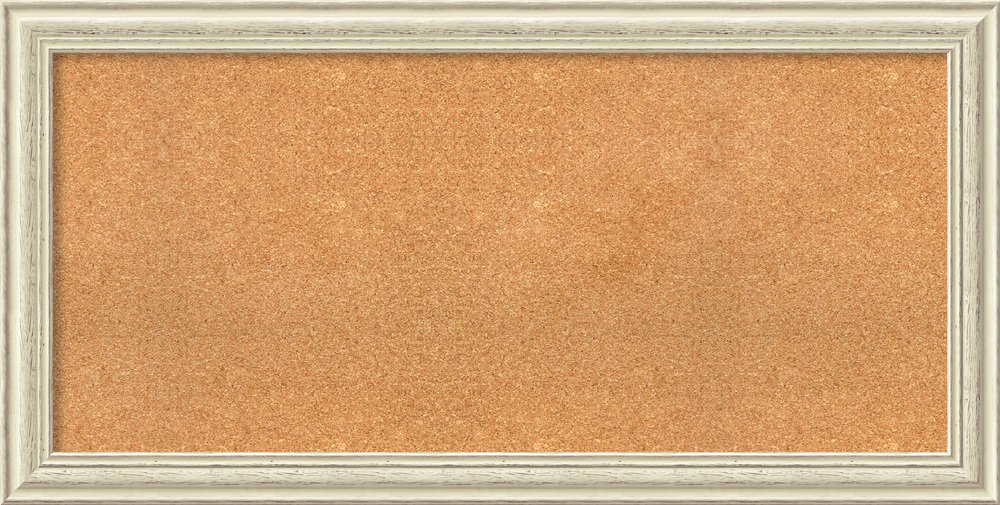 Amanti Art Whitewash Choose Your Custom Size Natural Cork Country White Wash Framed Bulletin Boards, 49 x 25