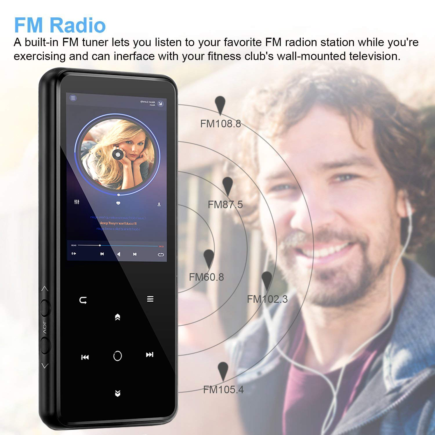 MP3 Player,PELDA Bluetooth MP3 Player,16GB MP3 Player with 2.4'' Large Screen, HiFi Lossless Music Player with Speaker,Touch Buttons,FM Radio/Recorder,16GB Come with a Wired Headphone by Pelda (Image #8)