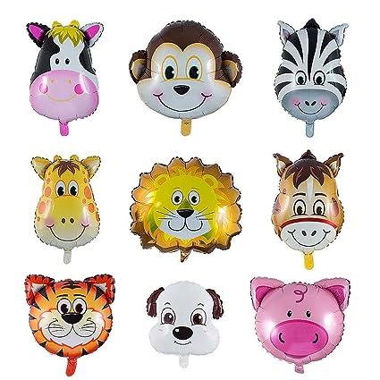 Globos Animales 9 Piezas Globo de Aluminio Animal Cumpleaños Globos, Decoración de la Fiesta de Cumpleaños de los Niños