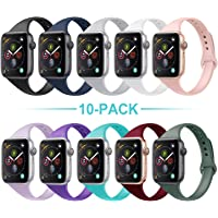 Acrbiutu Bands Compatible with Apple Watch 38mm 40mm 42mm 44mm, Slim Thin Narrow Replacement Silicone Sport Accessory Strap Wristband Compatible for iWatch Series 1/2/3/4/5 Women Men