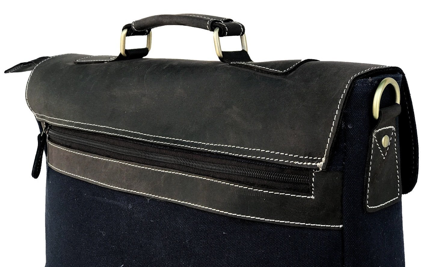 Breifcase Yellow Canvas And Black Buffalo Leather Bag Prastara Handicrafts 16x12inch