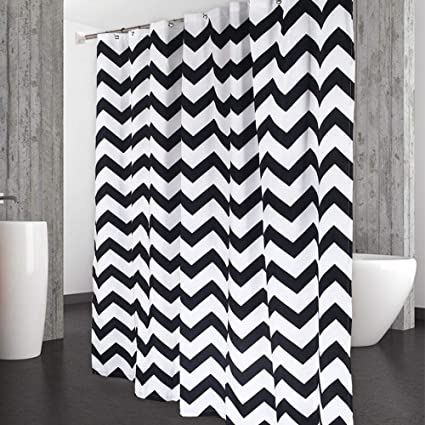 Image Unavailable Not Available For Color CAROMIO Black And White Fabric Shower Curtain