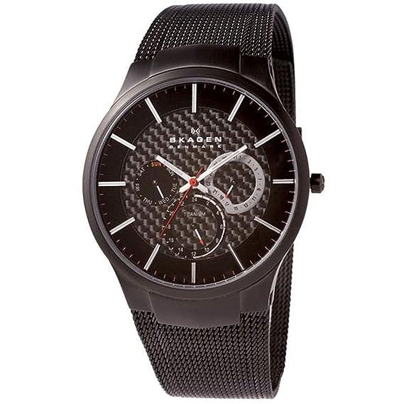 Skagen Slimeline Titan 809 XLTBB - Reloj de caballero de cuarzo (japonés), correa de titanio color negro: Skagen: Amazon.es: Relojes
