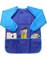 NEWSTYLE Children's Art Smock - Long Sleeve Waterproof Kids Painting Apron for School Classroom and Kitchen (Blue)