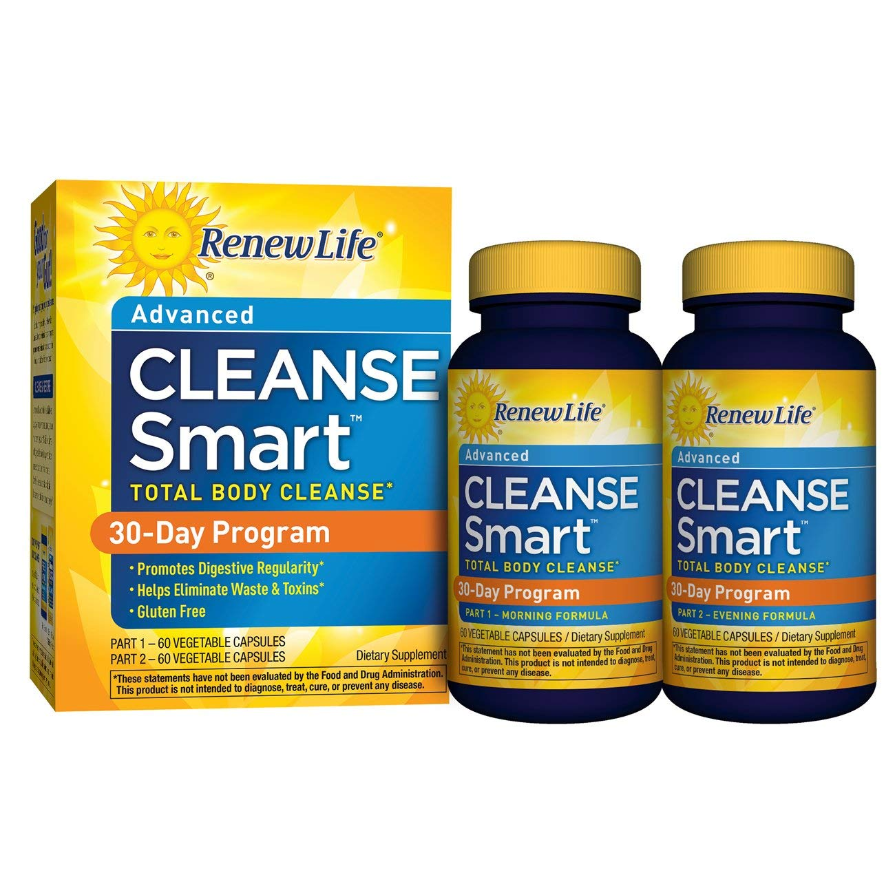 Renew Life Adult Cleanse - Smart Total Body Cleanse, Advanced - 2 Part, 30-Day Program - 120 Vegetable Capsules