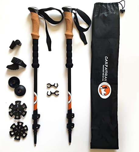 Walking Trekking Poles with Anti Shock and Quick Lock System, Natural Cork Grips, Telescopic, Collapsible, Ultralight Aluminum 7075 Sticks with Tungsten Tip for Hiking, Camping, Climbing, 1 Pair