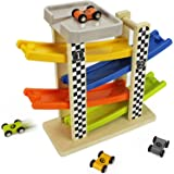 Switchback Racetrack Two Lanes Car Racing Tower Wooden Toy Ramp Race - iPlay, iLearn