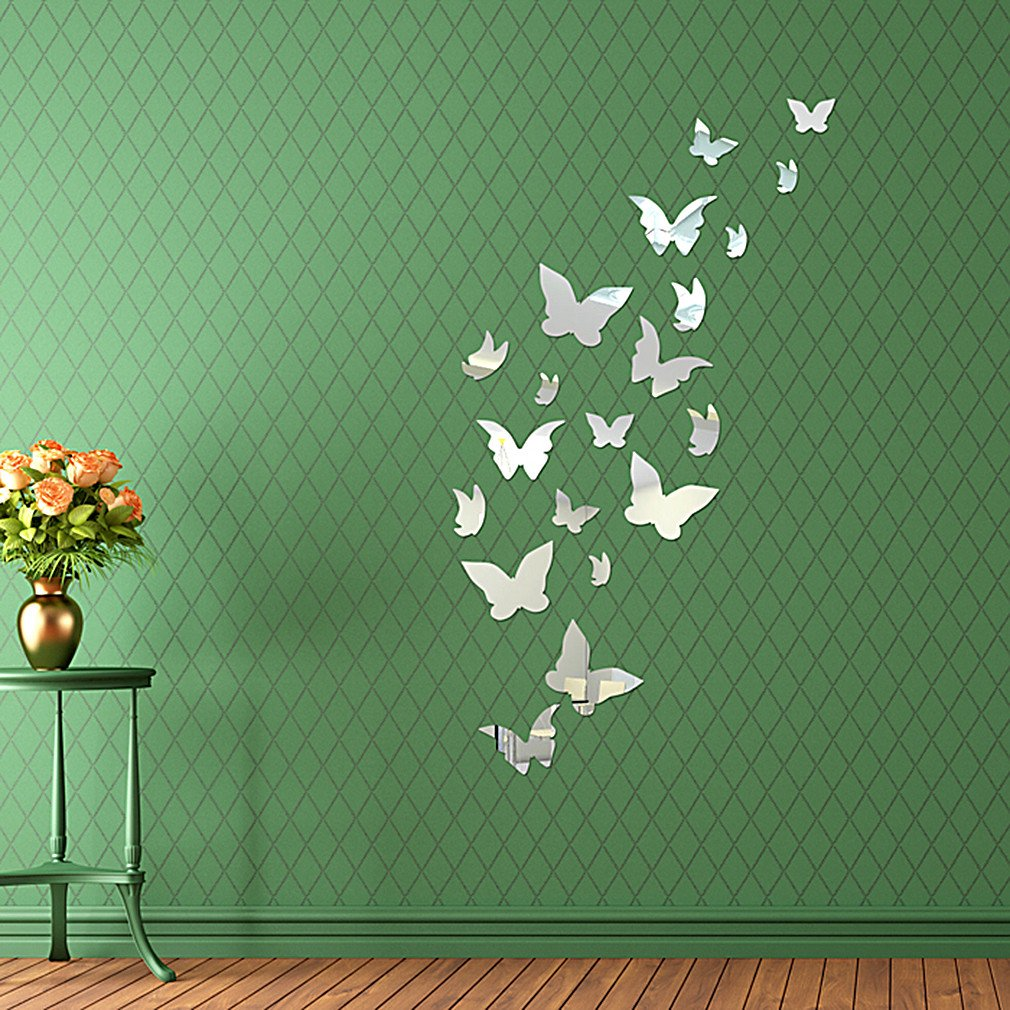DIY - Do It Yourself New Wall Mirror Stickers, Butterflies, Made of Acrylic Material Like Mirror, Modern Design for Home Living Room Bedroom Kitchen Baby Child Novelty Luxury Crystal Wall Silent Watch Extra Large Clocks, Silver