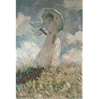 Canvas Print Reproduction 18X24 Inch Camille with Green Umbrella 1876 by Claude Monet Impressionist Figure Paintings Wall Art