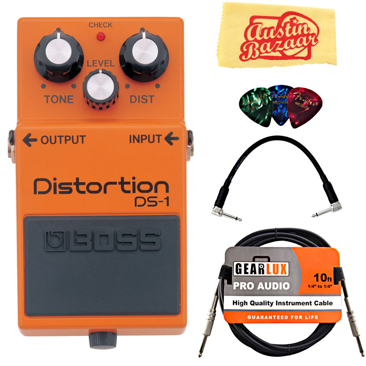 Boss DS-1 Distortion Bundle with Instrument Cable, Patch Cable, Picks, and Austin Bazaar Polishing Cloth by BOSS (Image #1)