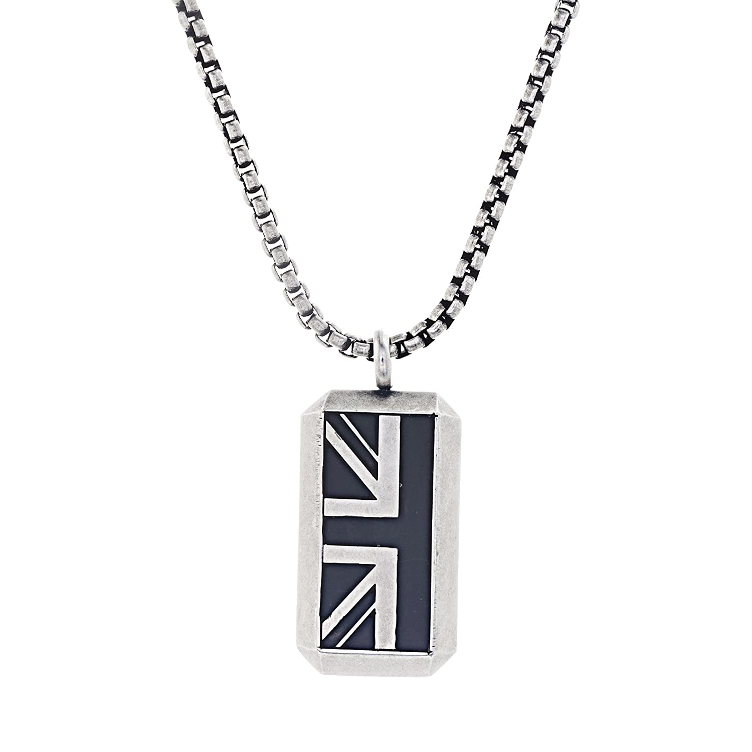 Ben Sherman Oxidized Men's Black Enamel British Flag Pendant Rolo Chain Necklace Nes Jewelry BSNS541024OX-EBK