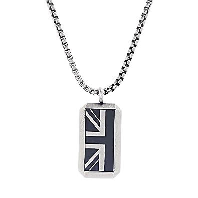 9177bc8d13ea9 Ben Sherman Oxidized Men's Black Enamel British Flag Pendant Rolo Chain  Necklace