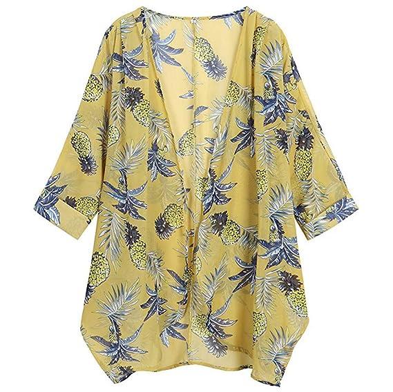 JiaMeng Moda Camisa de Manga Larga para Mujer Blusa de Gasa con Estampado Floral Casual Tops de Blusa Suelta de Kimono: Amazon.es: Ropa y accesorios