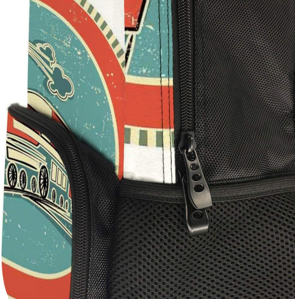 JasonGGG Vintage Style Orange and Blue Banner Train Transportation Retro OldTeens School Bookbags Travel Laptop Daypack Bag Lightweight Water Resistant Schoolbag for Boys Girls