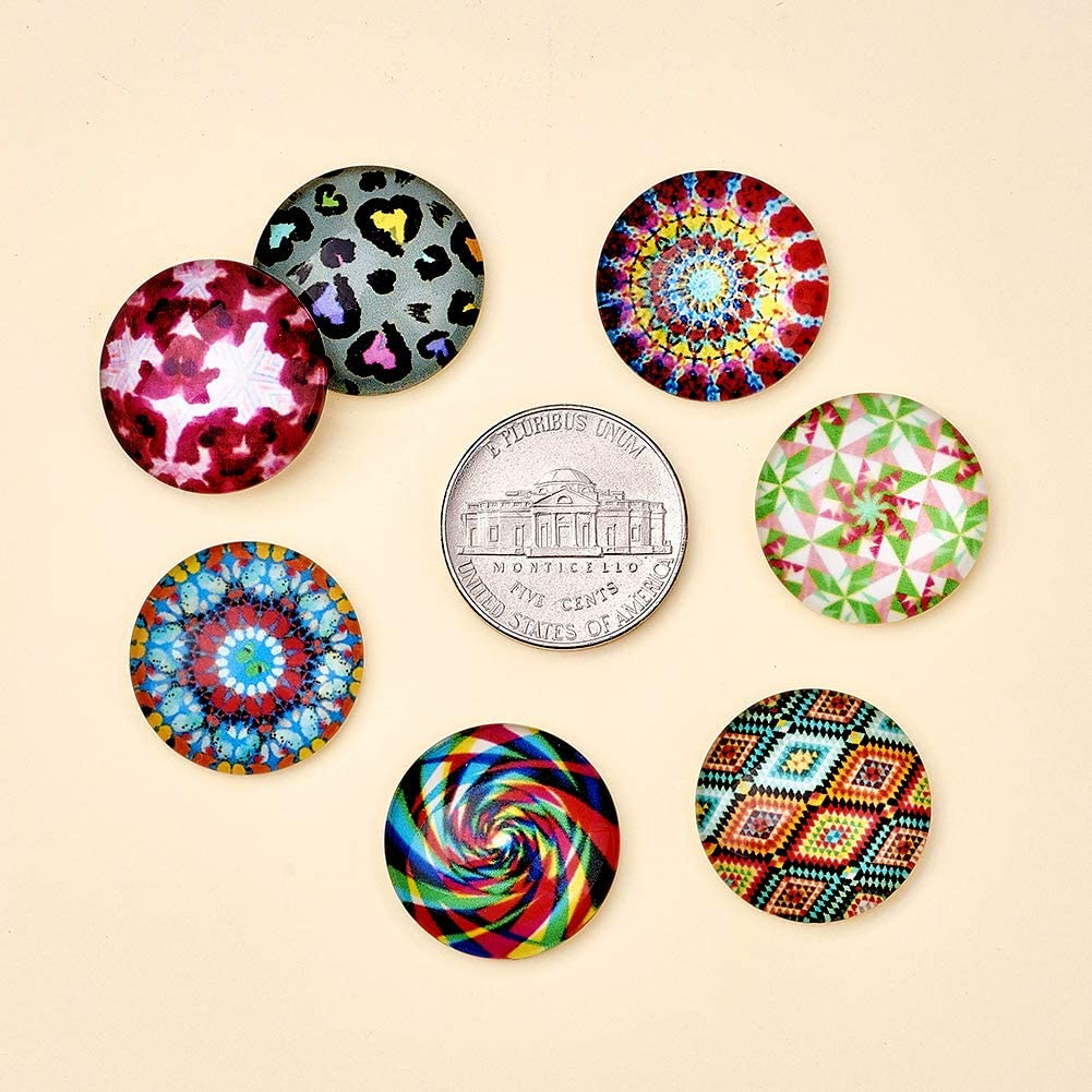 Craftdady 200PCS 20mm Mixed Color Mosaic Printed Photo Glass Flat Back Half Round Dome Cabochons for Crafts Supplies