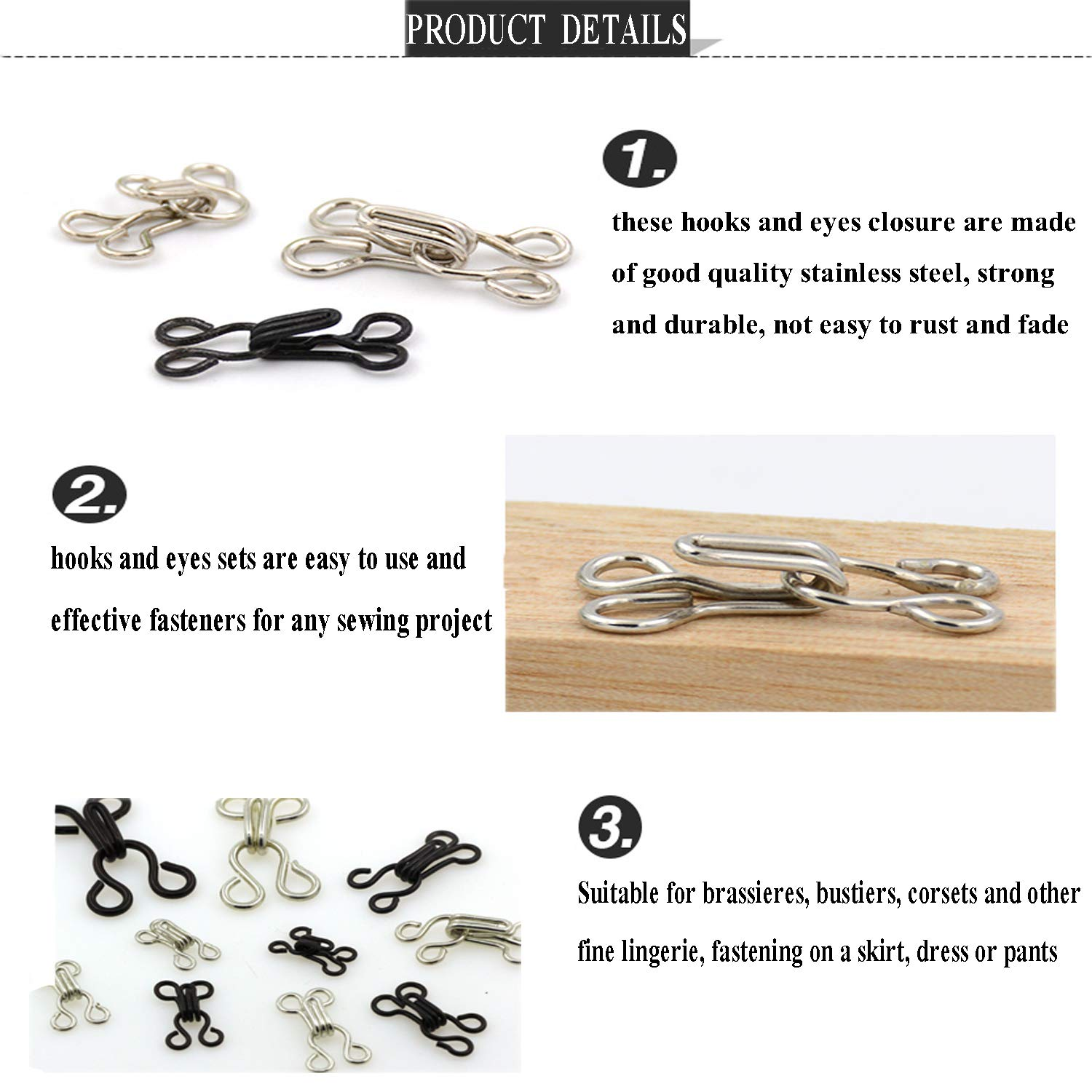 abc595bc42c Amazon.com  Janegio 120 Set Sewing Hooks and Eyes Closure with 5 Sizes for  Bra and Clothing