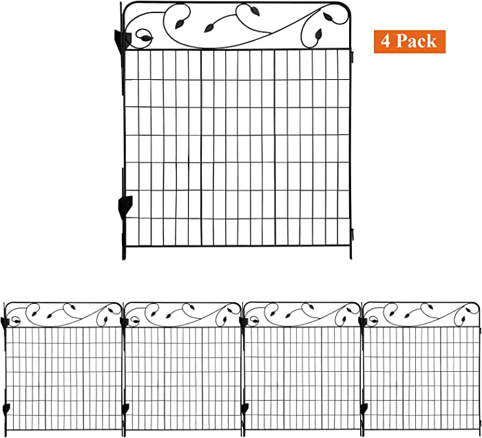 AshmanOnline Garden Fence 44in x 3ft - Outdoor Rustproof Metal Landscape Fencing Wrought Iron Wire Gate Border Edge Folding Patio Flower Bed Animal Barrier Section Edging Black (Set of 4)