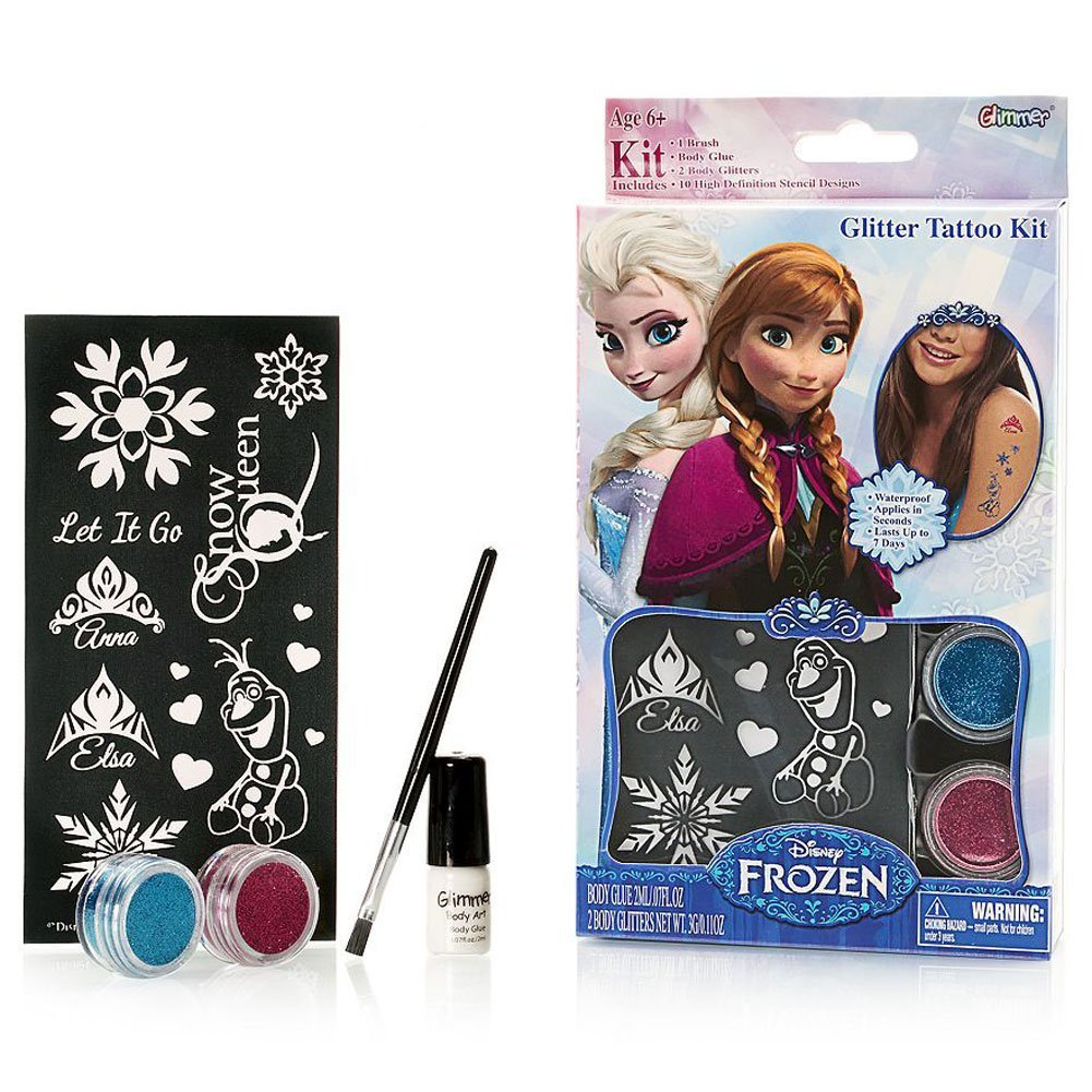 Disney Frozen Wall Stencils - Amazon com disney frozen glitter tattoo kit with stencils brush glue 2 color glitters toys games