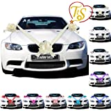 TtS Ivory Ribbon Wedding Car Decoration Kit Wrapping Large Bow (3 Bows 7 metres Ribbon