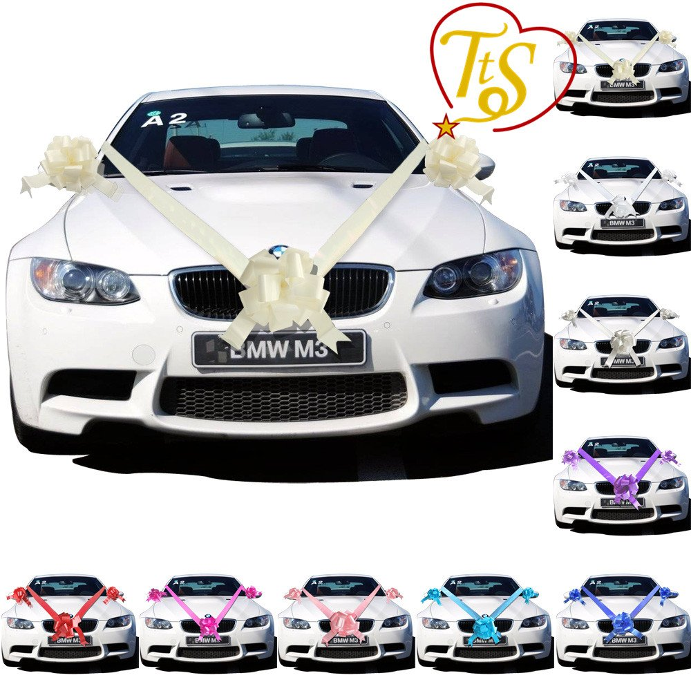 TtS Ivory Ribbon Wedding Car Decoration Kit Wrapping Large Bow (1 ...