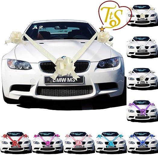 TtS Ivory Ribbon Wedding Car Decoration Kit Wrapping Large Bow 3 Bows 7 Metres