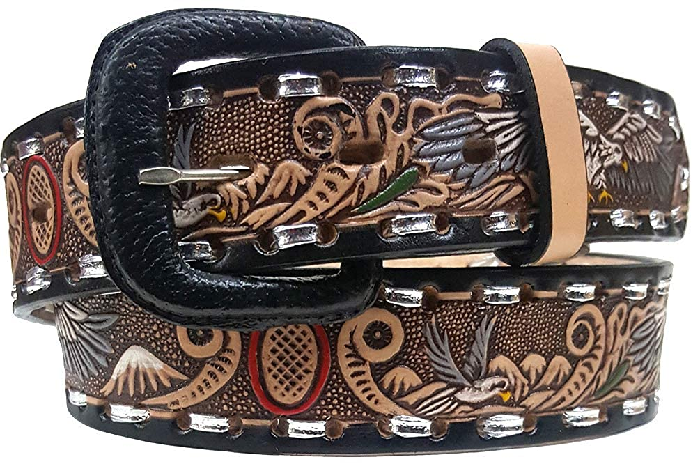 Modestone Hand Painted Eagle Laced Western Leather Belt 1.5 Width Beige