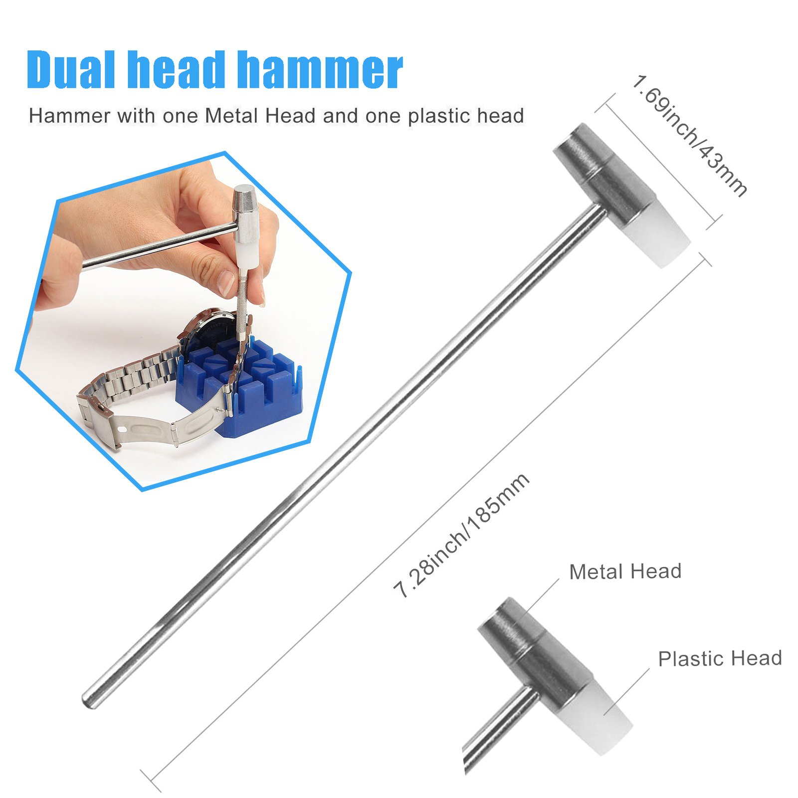 Watch Repair Kit, Spring Bar Tool Kit with Watch Strap Link Pin Remover/Watch Band Holder/Dual Head Hammer/Watch Pins(18 20 22 24 mm)/Pin Punches, Watch Repair Strap Removal Kit ideal for Watchmaker
