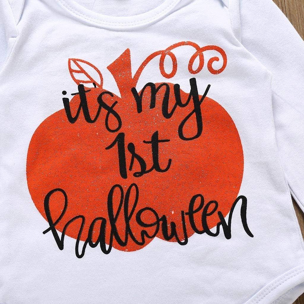 Bandeau LABIUO 4Pcs D/éguisement Halloween Ensembles B/éb/é Fille Mon 1er Halloween en Coton Manches Longues imprim/é Citrouille Combinaison Top Jupe Tutu Jambi/ères 3-24 Mois