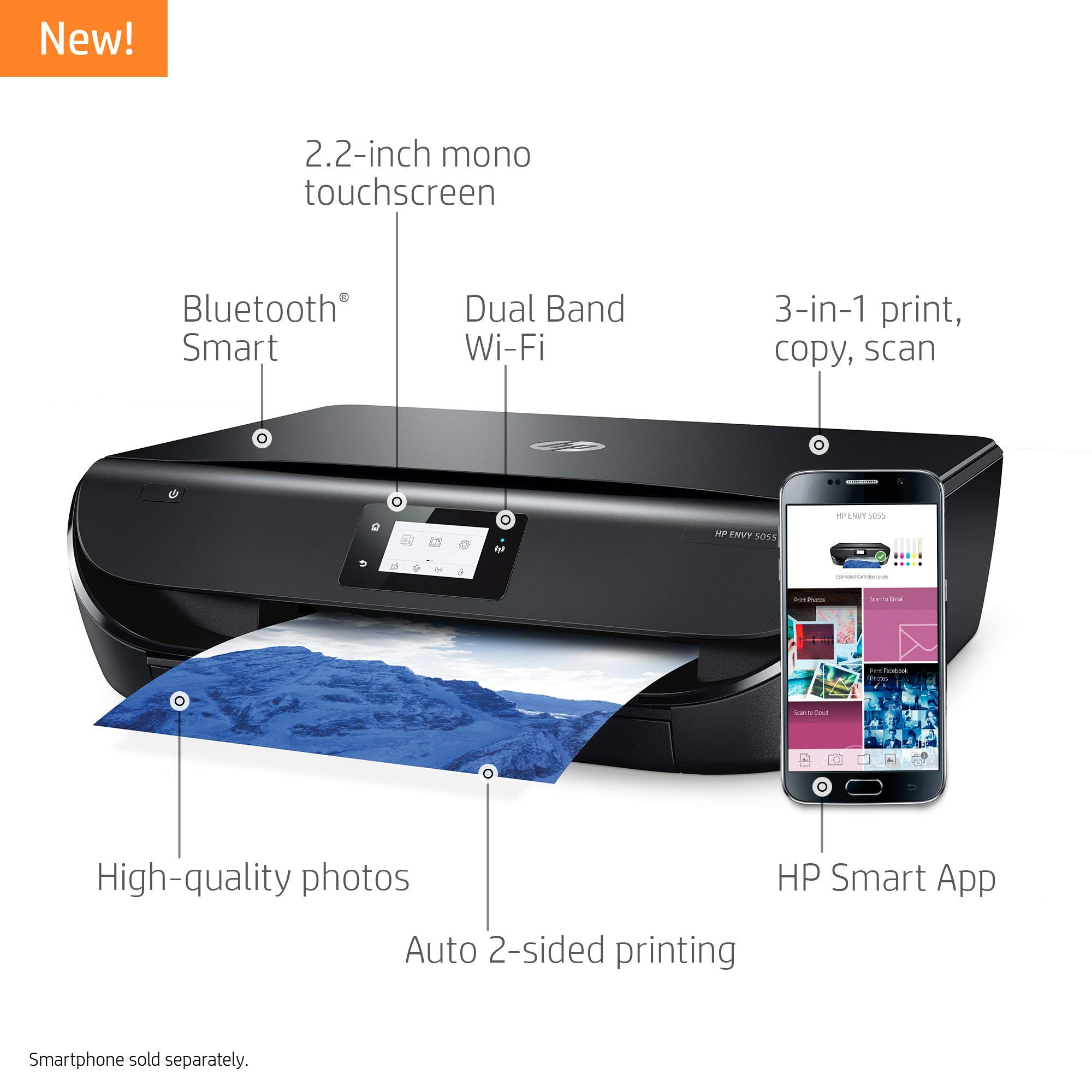 HP Envy 5055 Wireless All-in-One Photo Printer, HP Instant Ink & Amazon Dash Replenishment Ready (M2U85A) (Renewed) by HP (Image #2)