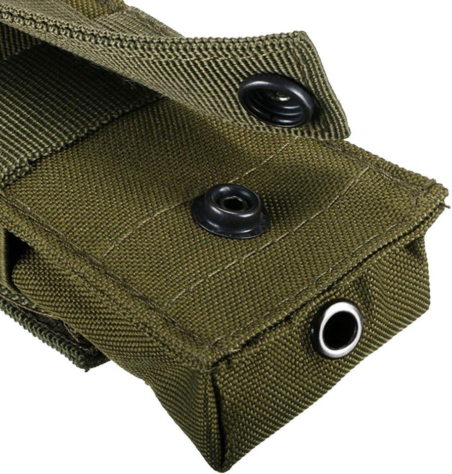14X5.5X4CM Tactique Militaire Molle Nylon Imperm/éable Sacoche de Lampe Torche Etui Poche Lampe de Poche et Batterie arm/ée Verte