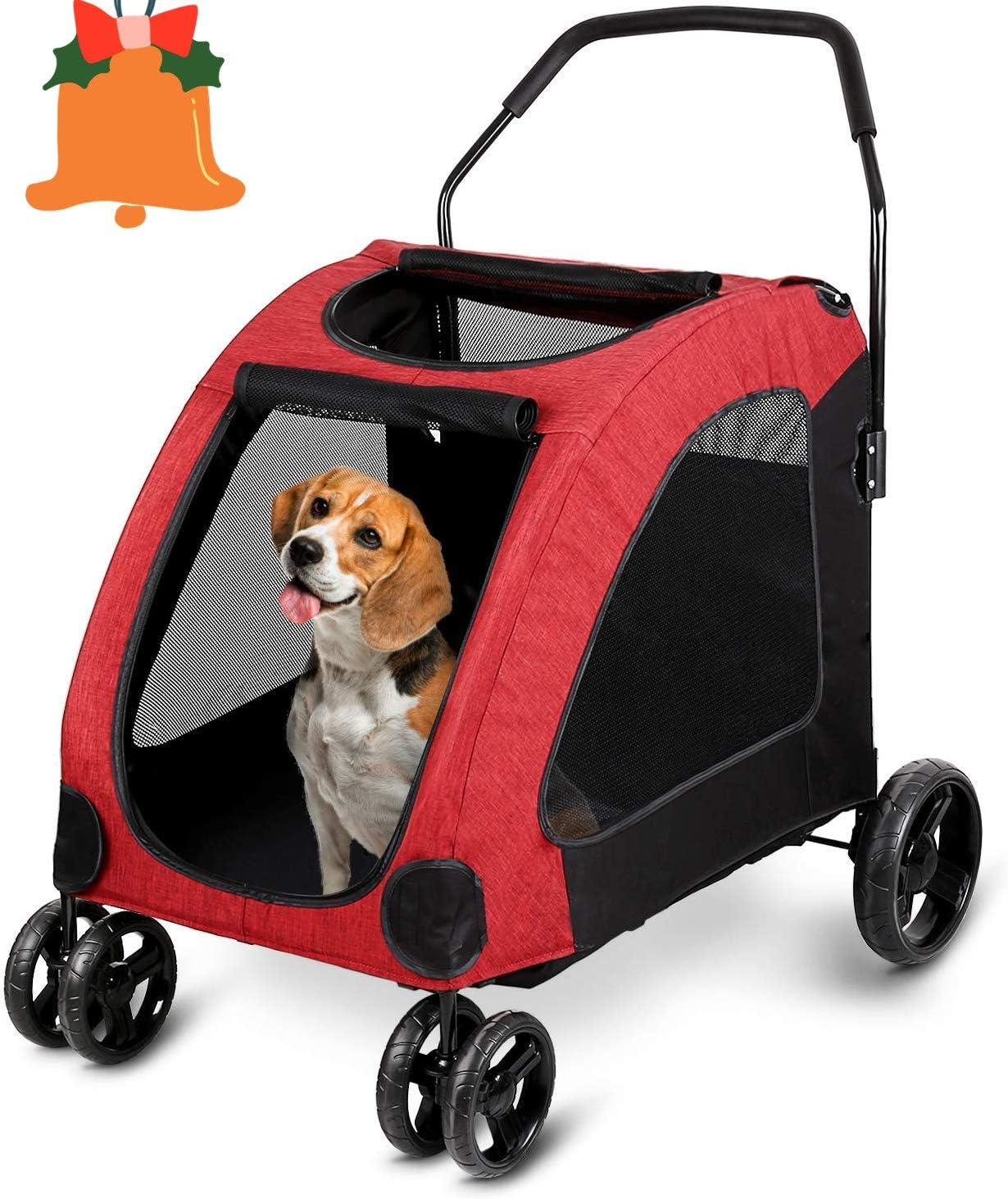 amzdeal Cochecito de bebé de Perro Rojo con 4 Ruedas de EVA, Firme y Transpirable Carro de Transporte a 60 kg para Perros, Gatos y Mascotas de Campania