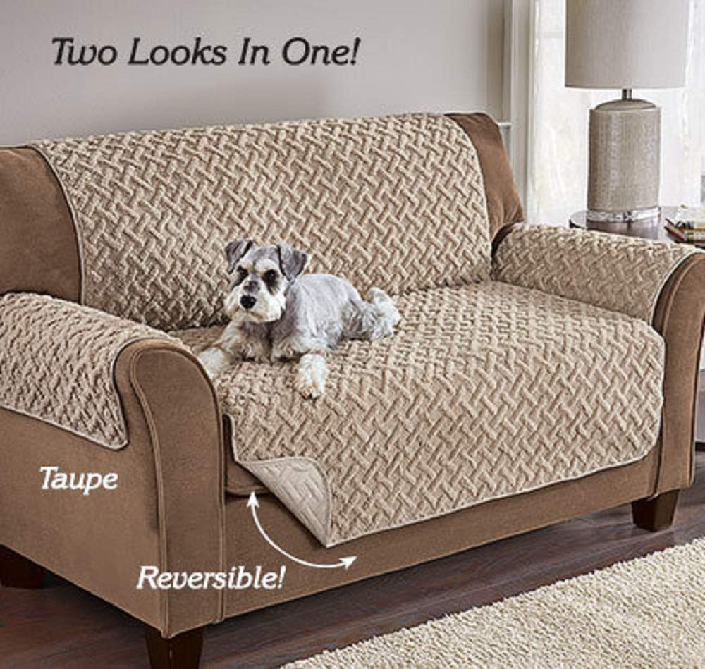 MS Home Soft Microfiber Polyester Stretchable Reversible Chair Sofa Loveseat Furniture Protector - Durable, Embossed Sherpa Fleece, Elasticized Strap (Recliner/Chair, Taupe) by MS Home