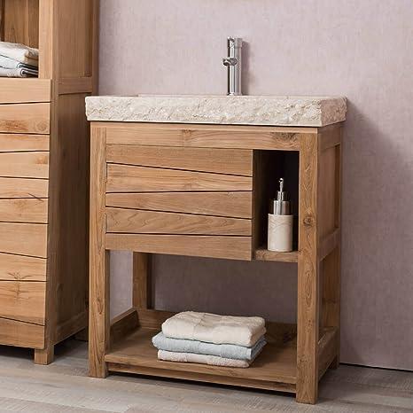 Mueble de teca maciza COSY 67 cm + lavabo crema