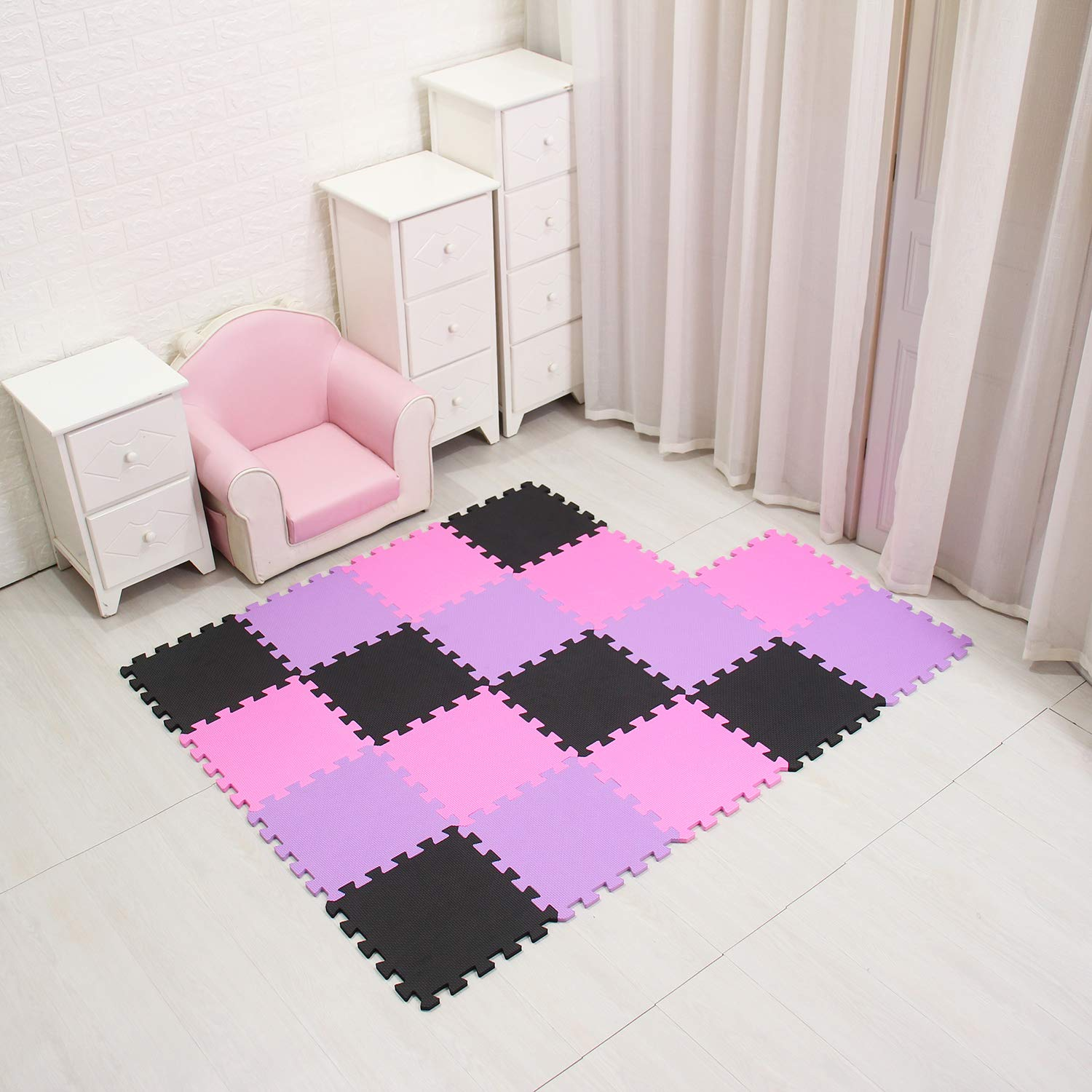 MQIAOHAM Children Puzzle mat Play mat Squares Play mat Tiles Baby mats for Floor Puzzle mat Soft Play mats Girl playmat Carpet Interlocking Foam Floor mats for Baby Pink Black Purple 103104111