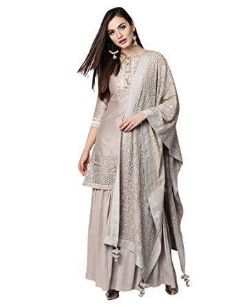 e2820b2dd0 AKHILAM Women's Pure Silk Embroidered Unstitched Salwar Suits Salwar Suit  Material With Palazzo Set (Grey_Free