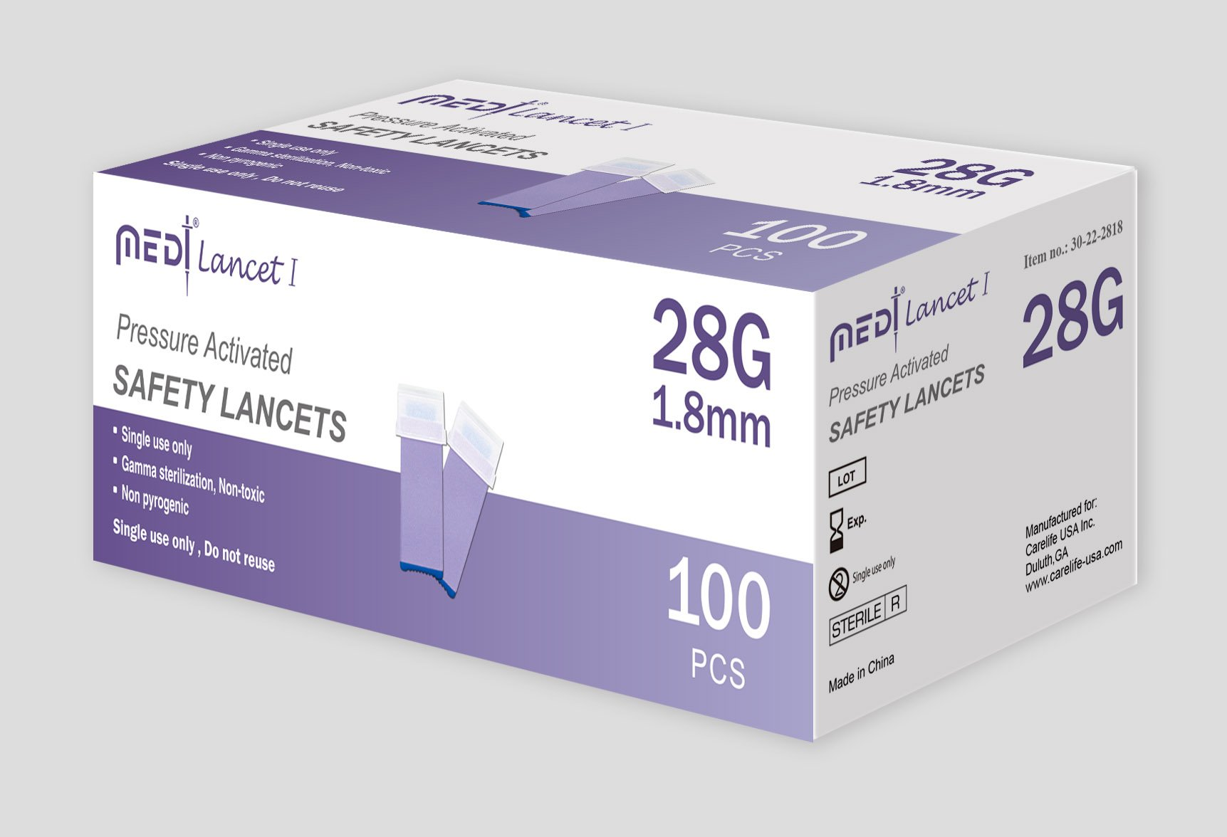 MedtLancet I Pressure Activated Safety Lancets 28Gx1.8mm, 100 pieces