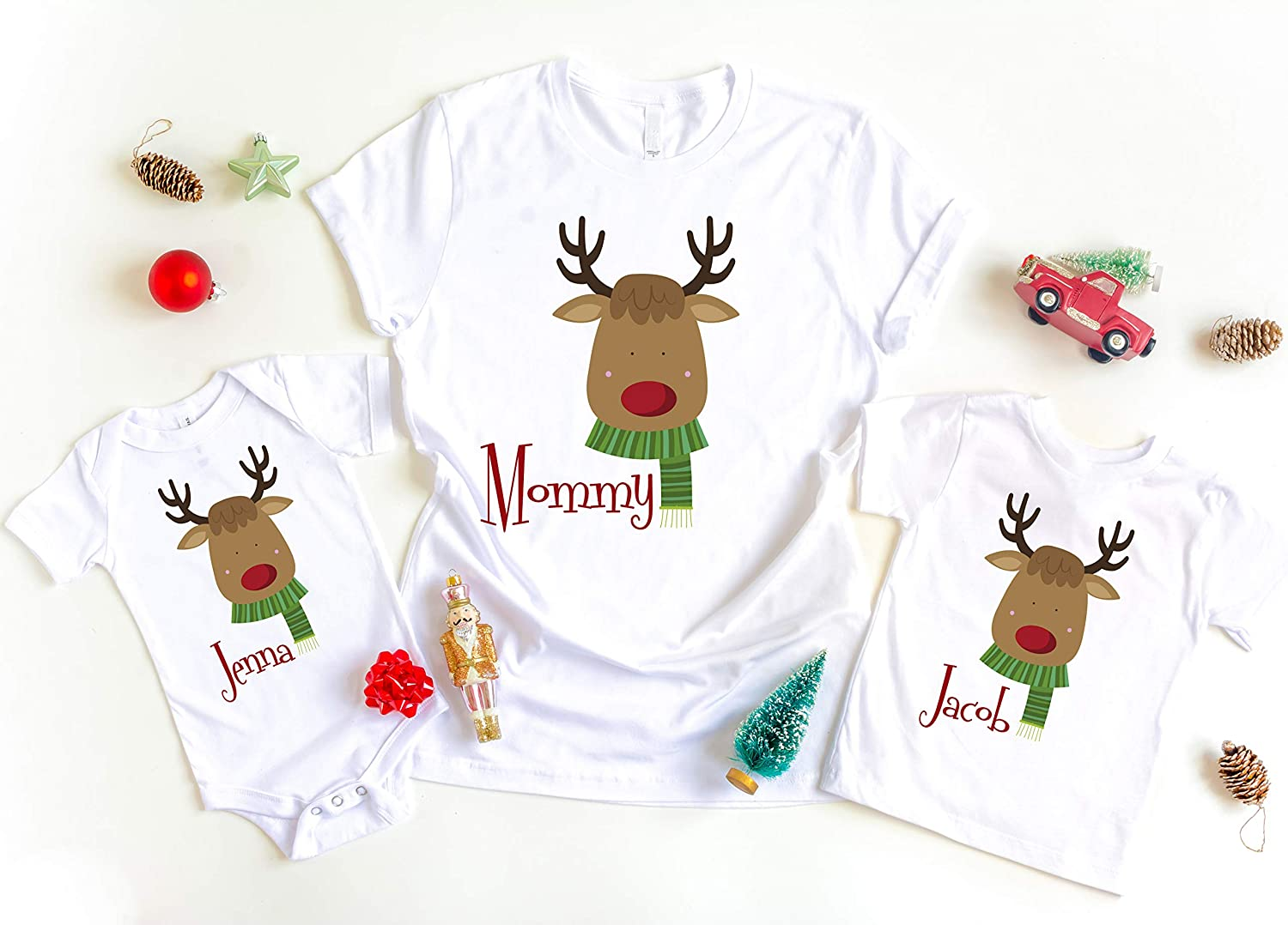 Personalised Reindeer Christmas T-Shirt Rudolph Xmas Day Kids /& Adults Top