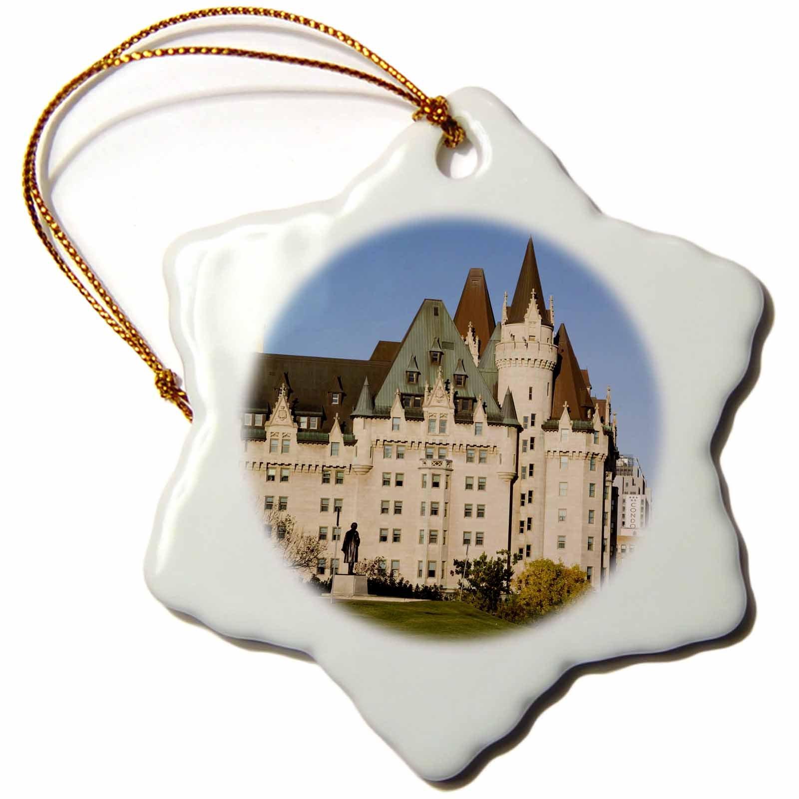 3dRose orn_74029_1 Chateau Laurier Hotel in Ottawa, Ontario, Canada-CN08 KPI0002-Kristin Piljay-Snowflake Ornament, Porcelain, 3-Inch