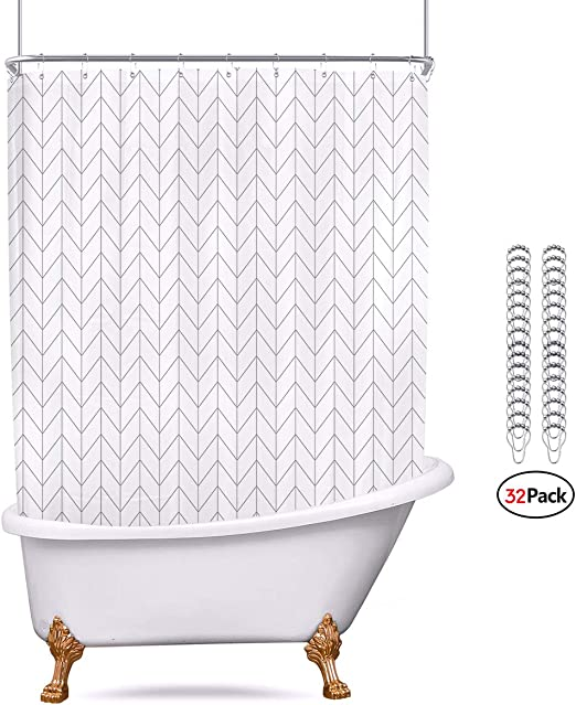 Riyidecor 96Wx72L Striped Herringbone Chevron Shower Curtain Panel Metal Hooks 16 Pack White Geometric Decor Fabric Bathroom Set Polyester Waterproof