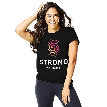 Zumba – Fuerte del Gráfico Camiseta Tops, Mujer, Color Bold Black, tamaño XXL